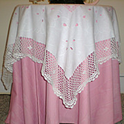 Vintage Cutwork Embroidery and Crochet Table Topper Tablecloth