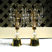 Pair Mid Century Crystal Waterfall Lamps