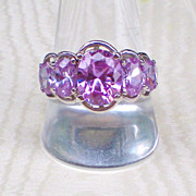 Vintage Sterling and Amethyst Crystal Ring