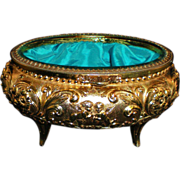 Oval Ormolu Jewelry Casket with Beveled Glass Lid