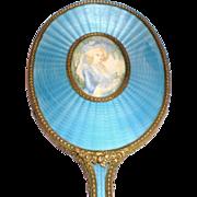 Austrian Bronze-Doré Guilloche Hand Mirror with Portrait
