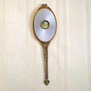 Apollo Studios Ormolu and Guilloche Mirror with Portrait