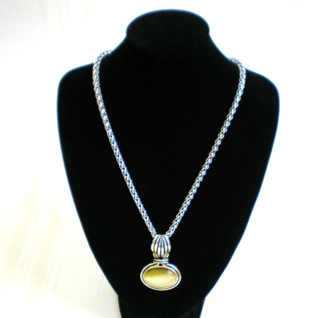 Silvertone and Goldtone Necklace with Bezel Set Pendant