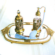 Pair Apollo Studios Ormolu Perfume Bottles in Empire Style