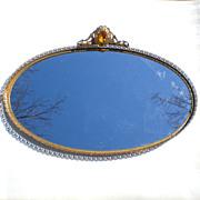 Large Jeweled Globe Ormolu Vanity Perfume Tray with Gallery