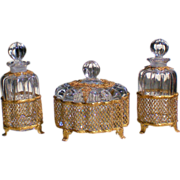 Apollo Studios Heisey Crystolite Ormolu Mounted Dresser Vanity Set
