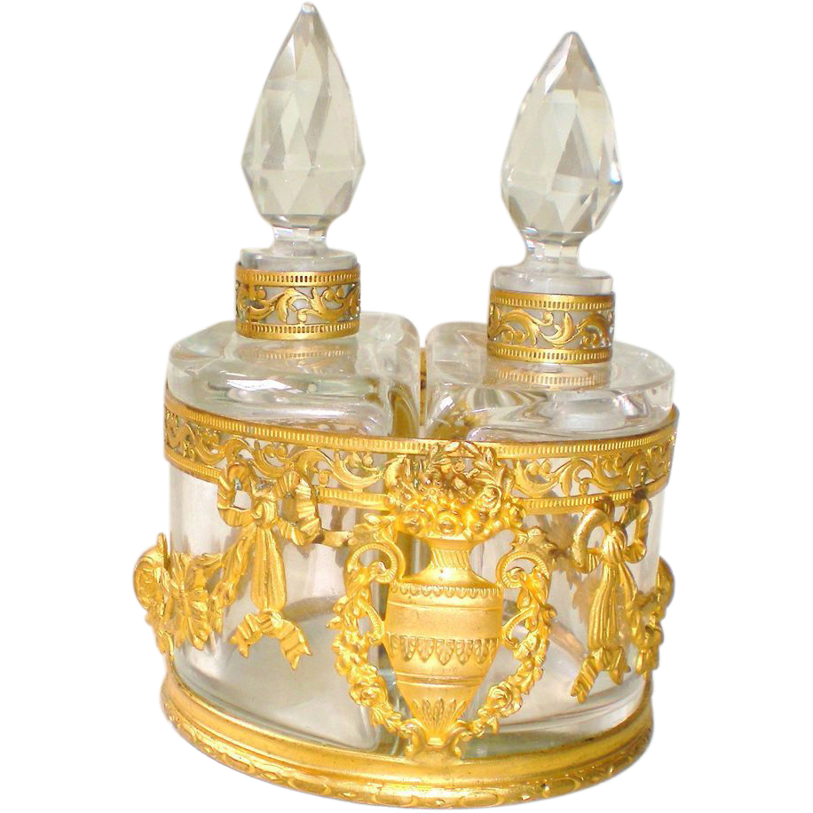 Napoleon III Doré Baccarat Scent Bottle Caddy
