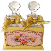Pair French Crystal Perfume Flacons in French Ivory Caddy