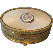 Apollo Studios Ormolu and Guilloche Trinket Box with Floral Medallion