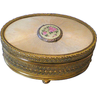 Apollo Studios Ormolu and Guilloche Trinket Box with Floral Medallion