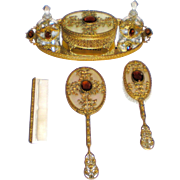 Apollo Studios Ormolu Vanity Dresser Set - Complete 7 Pieces