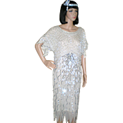 Vintage Beaded Flapper Dress and Headpiece - Great Gatsby Style