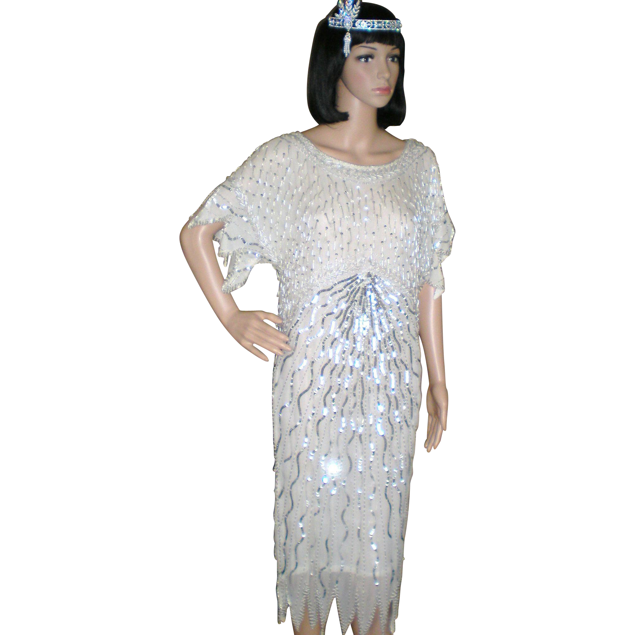 Vintage Beaded Flapper Dress and Headpiece - Great Gatsby ...