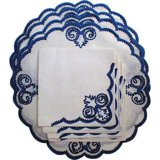 Blue and White Embellished Linen Placemats and Napkins