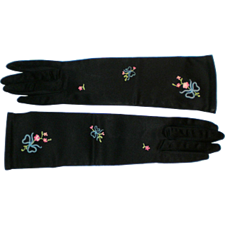 Vintage Michel Swiss Black Satin Embroidered Gloves