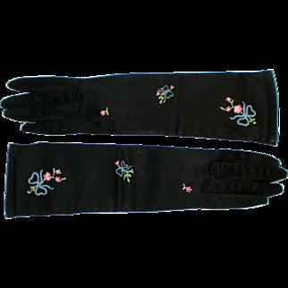 Vintage Michel Swiss Black Satin Embroidered Gloves