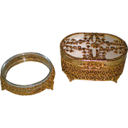 Vintage Ormolu Trinket Box and Powder Jar