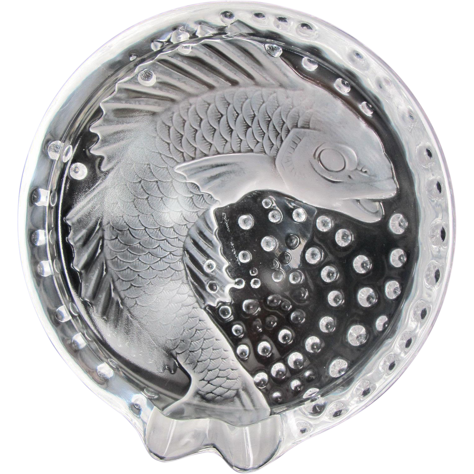 Lalique france koi concarneau crystal bowl from for Koi viewing bowl
