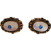 Vintage Mother-of-Pearl Earrings with Rhinestones