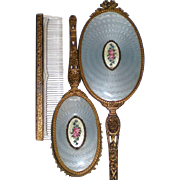 Apollo Studios Ormolu Dresser Vanity Set with Guilloché Medallion