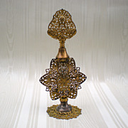 Apollo Ormolu Filigree Vintage Perfume Bottle with Glass Dauber