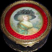 19th Century French Bronze Trinket Box with Portrait Lid