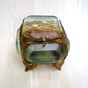 19th Century French Bronze Trinket Box with Painted Lid