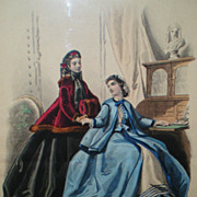 French Hand Tinted Fashion Print from 1860 - Framed