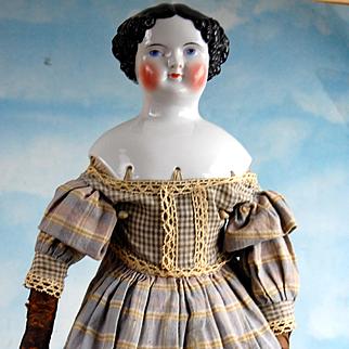"22"" Beautiful China Doll all Original! Covered Wagon dress!"