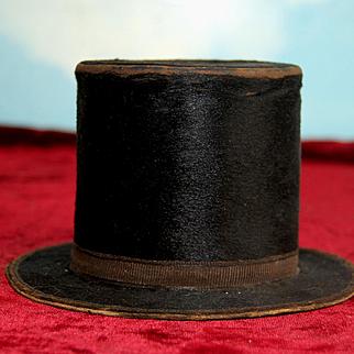 """4""""French Beaver Dolls Gentlemen's Top Hat Salesman Sample Brossier Paris"""