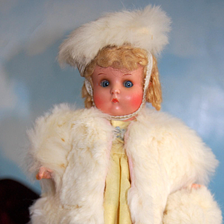 "Rare Little 8"" Just Me Doll Wearing a smashing White Rabbit Fur Coat and Hat with Muff!"