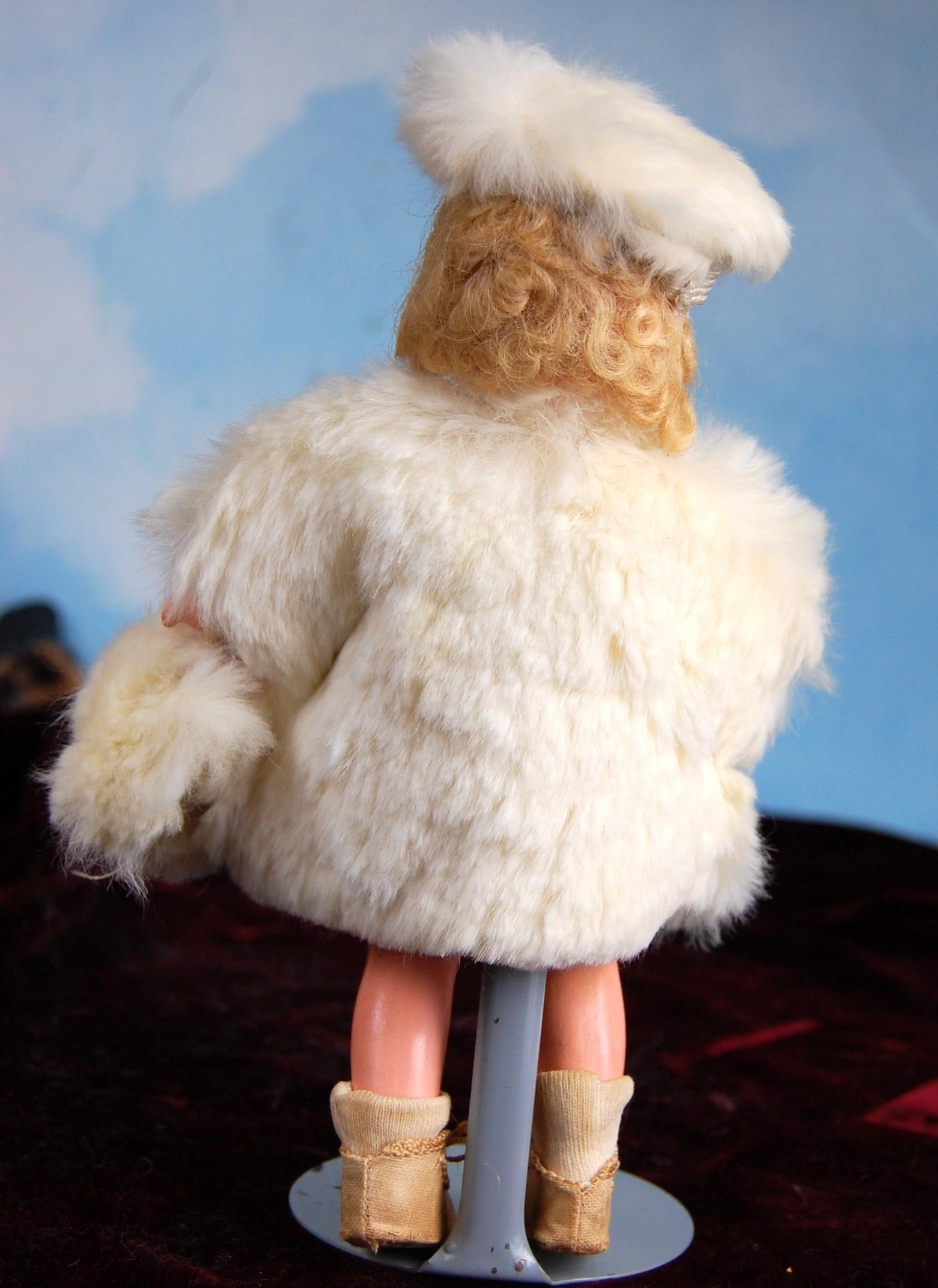 Rare little 8 quot just me doll wearing a smashing white rabbit fur coat