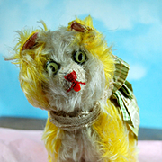 Rare French Circa: 1900 Musical Kitty With Built in Bellows! Rare Golden Vivid Color!