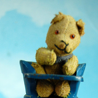 "4"" Tiny German Jointed Teddy Bear In Original Wedgwood Blue High Chair!"