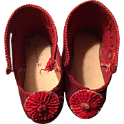 Size 19 Red French Dolls shoes with Rossettes signed CM!