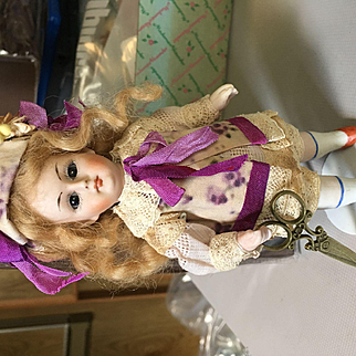 """Almost 6""""Rare Brown Eye All-Bisque Swival Neck Beauty! Doll!"""