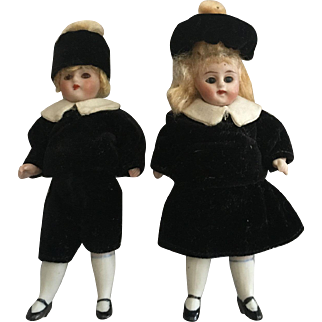 """Rare 4"""" All Bisque German Twins !Glass Eyes!"""