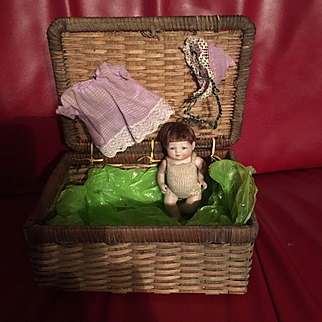 "5"" All Bisque Bye- Lo Baby in Wicker Trunk!"