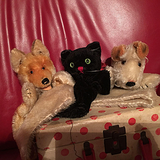 Three Steiff Wool Puppets! Cat Fox Dog
