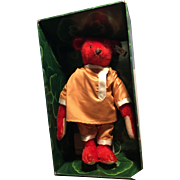 """13"""" Alfonzo Steiff Red Mohair Bear! Let to 5000 only!"""