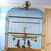 """Rare Bontems c.1910 About 21 3/4"""" Rare Three Birds Made In France! Musical and animated singing Birds!"""
