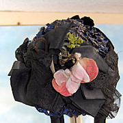 Fabulous Antique Doll Hat, Straw and Ribbon and Lace! Fits a Large size Doll!