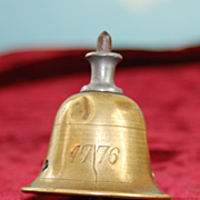 "Bicentennial Liberty Bell 1776-1876 Antique Doll Top!! All Brass! Tiny 3.5""!"
