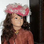 "46"" Rare Child  Manikin wearing Fabulous Antique Dress With Feather Hat!!"