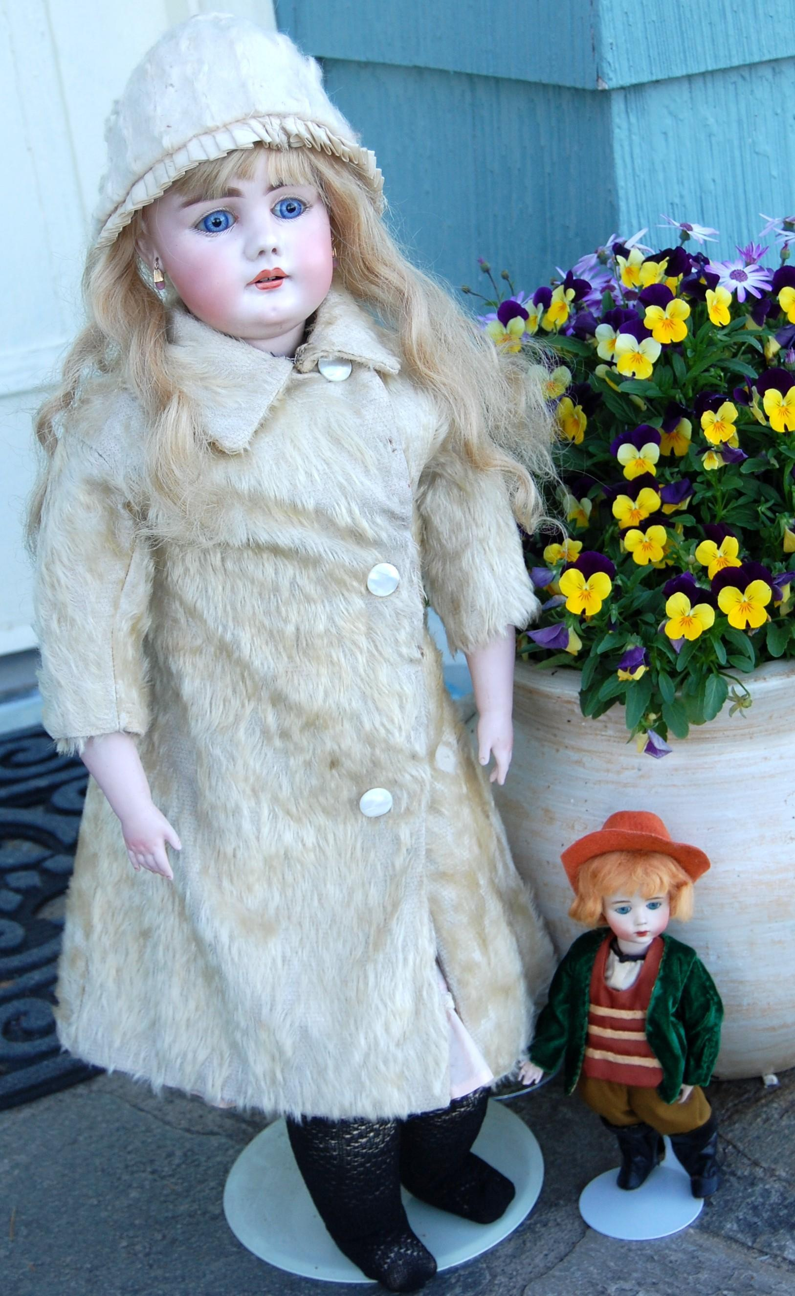 Early 1900 Fur Fuzzy French Coat and Matching Hat Fits Larger Doll!
