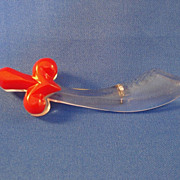 Lucite Sword with Red Bakelite Handle Brooch