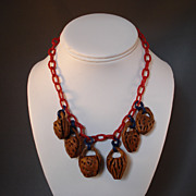 Peach Seed Basket Necklace