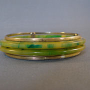 Marbled Green/Yellow Bakelite Bangles