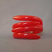 Cherry Red Lucite Clamper Bracelet