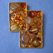 """Austria"" Art Glass Abstract Pin"